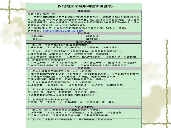 保定电大系统培训需求调查表