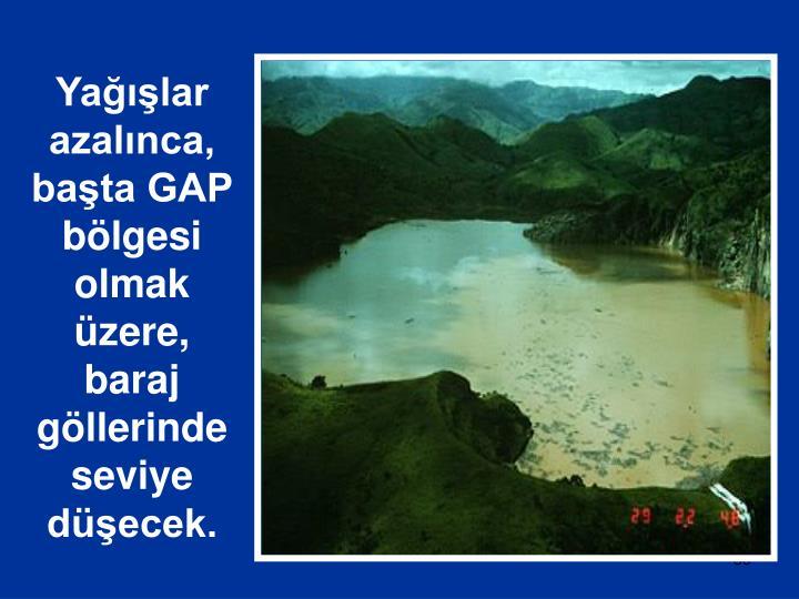 Yağışlar azalınca, başta GAP bölgesi olmak üzere, baraj göllerinde seviye düşecek.