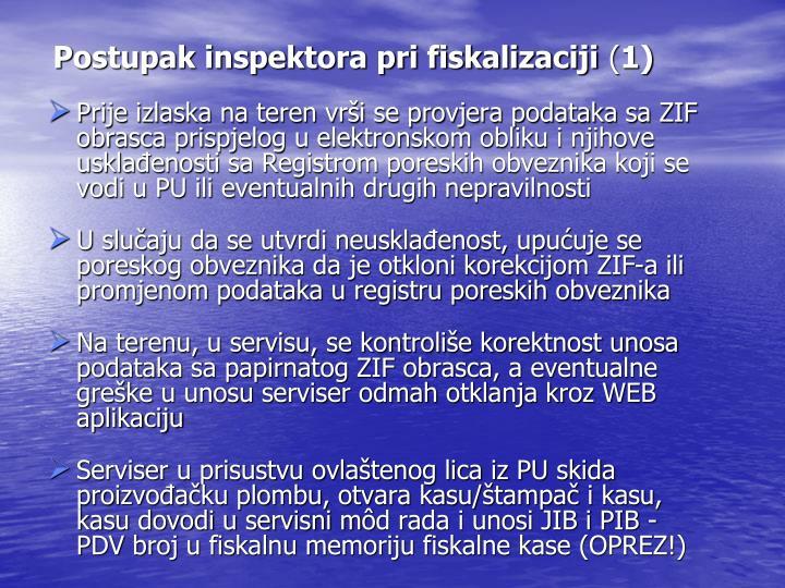 Postupak inspektora pri fiskalizaciji