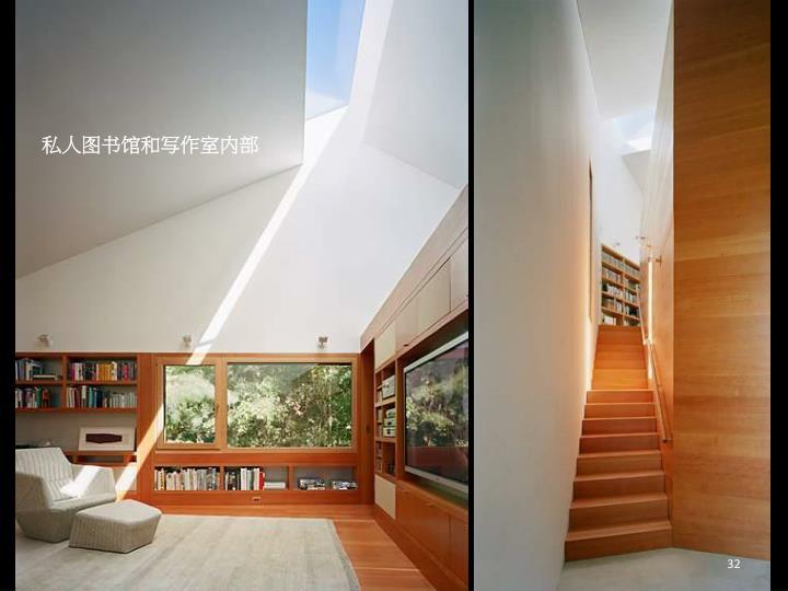 私人图书馆和写作室内部
