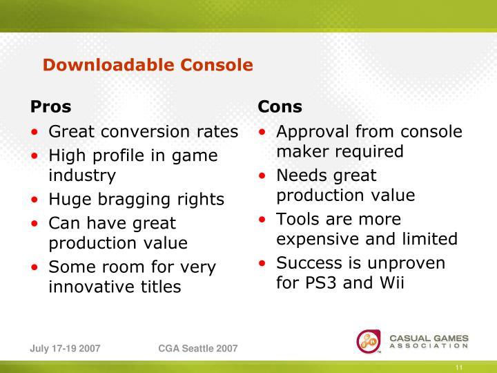 Downloadable Console