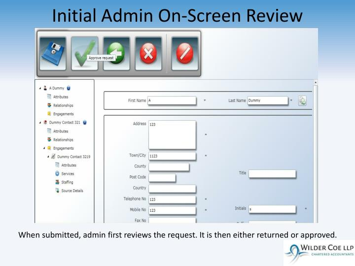 Initial Admin On-Screen Review
