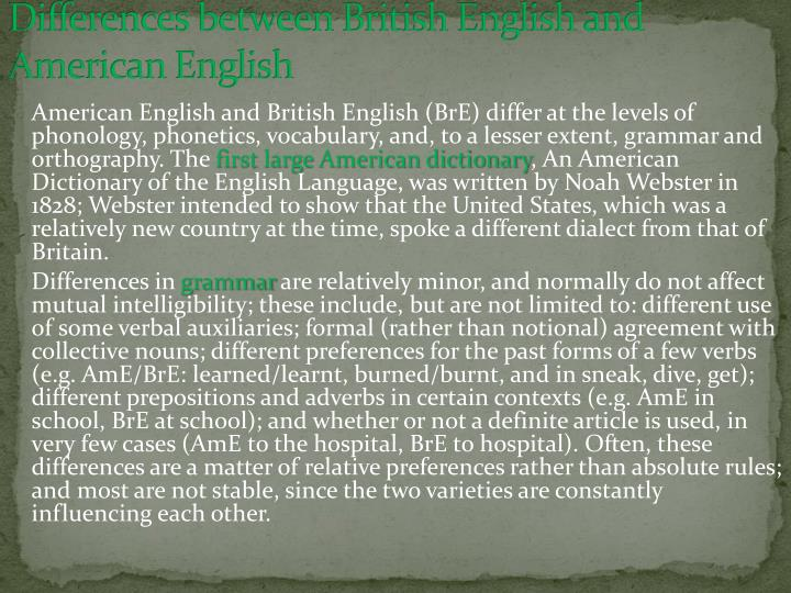 Differences between British English and American English