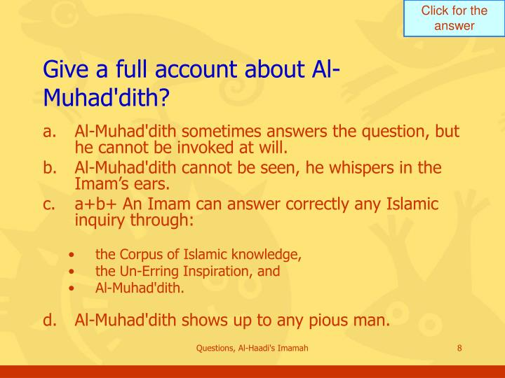 Give a full account about Al-Muhad'dith?