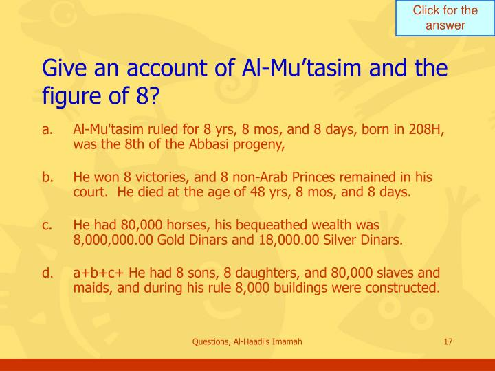 Give an account of Al-Mu'tasim and the figure of 8?