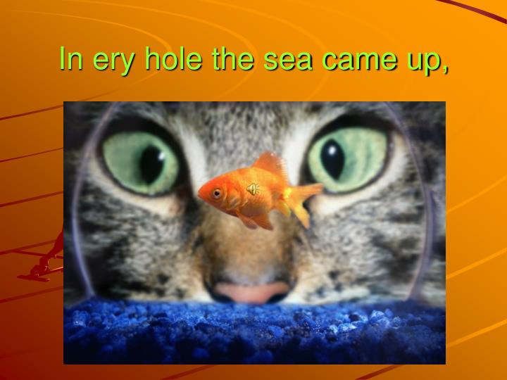 In ery hole the sea came up,