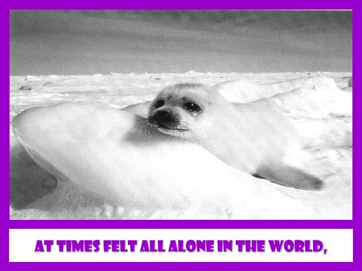 at times felt all alone in The world,