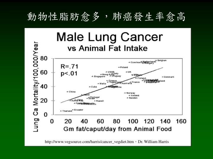 動物性脂肪愈多,肺癌發生率愈高