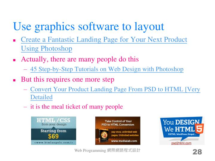 Use graphics software to layout