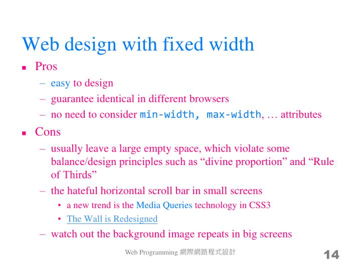 Web design with fixed width