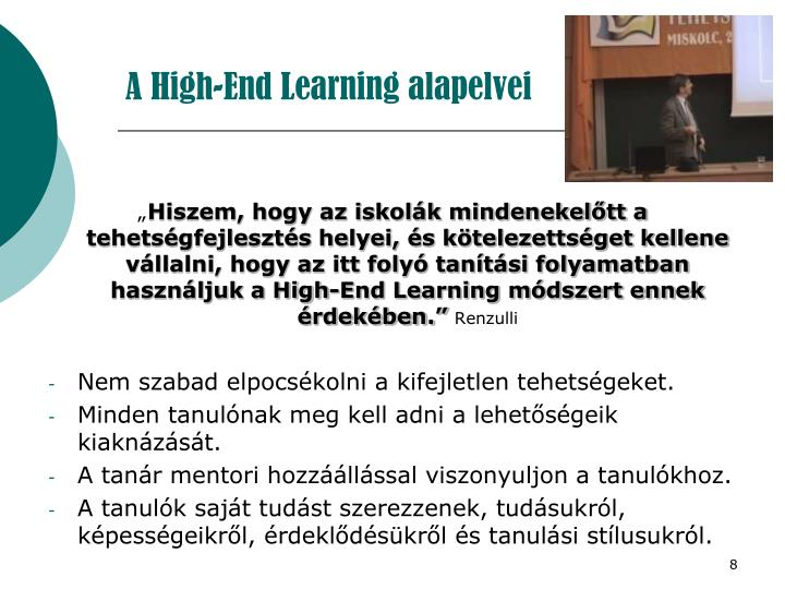 A High-End Learning alapelvei