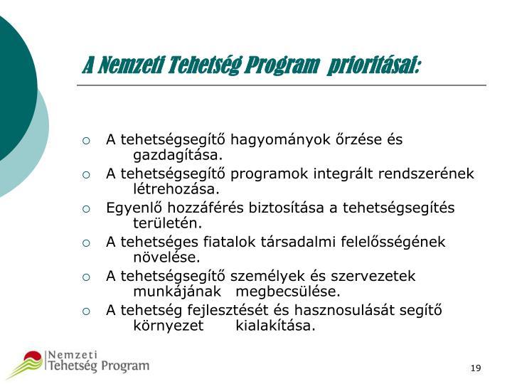 A Nemzeti Tehetség Program  prioritásai