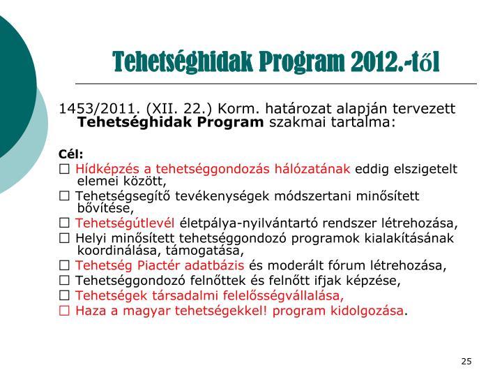 Tehetséghidak Program 2012.-től