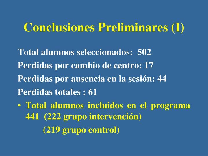 Conclusiones Preliminares (I)
