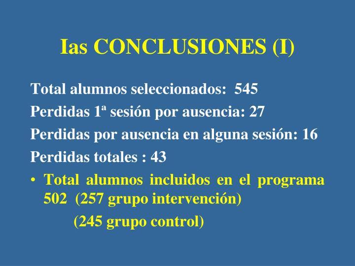 Ias CONCLUSIONES (I)