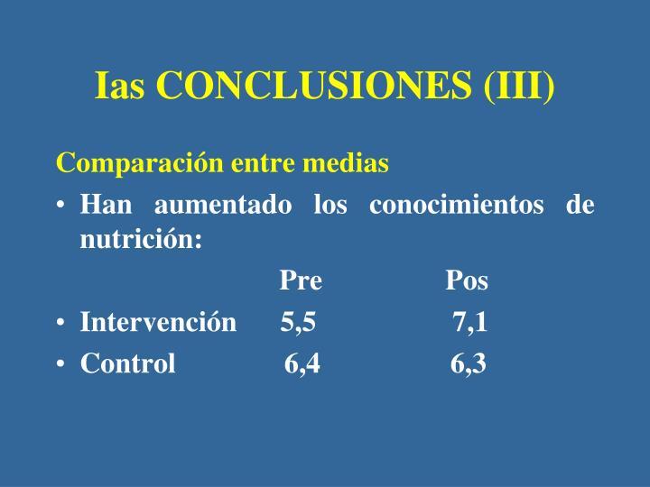 Ias CONCLUSIONES (III)