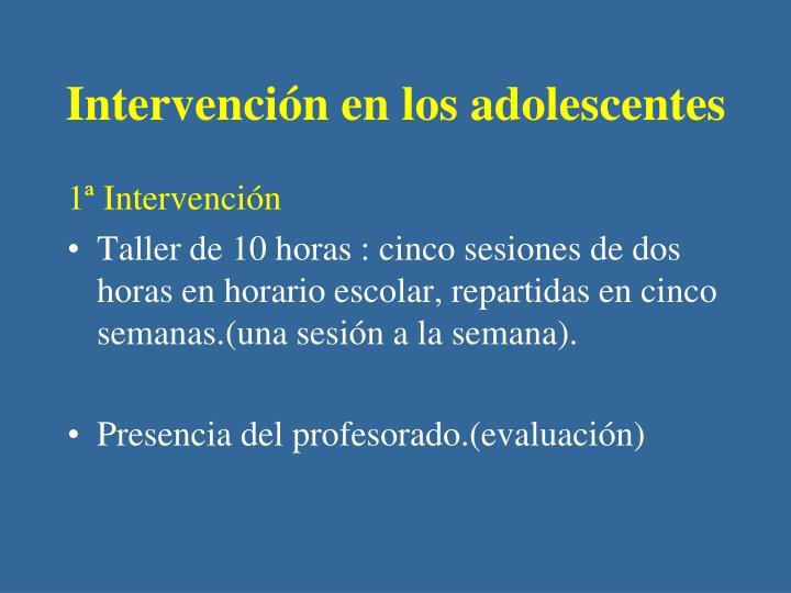 Intervención en los adolescentes
