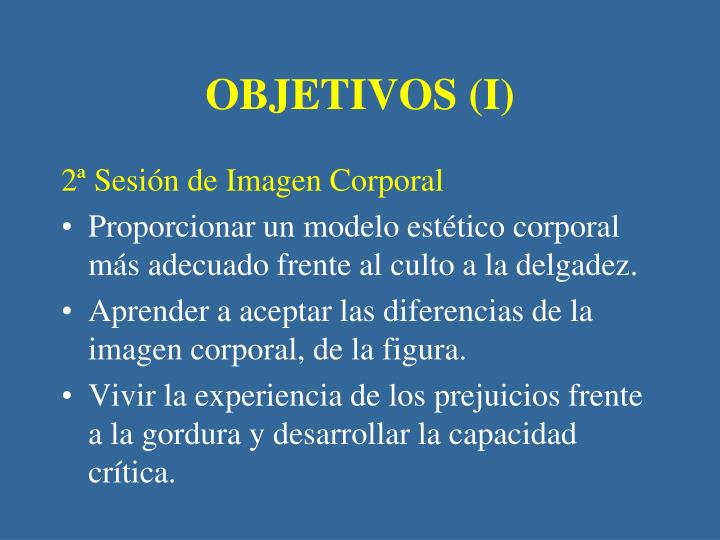 OBJETIVOS (I)
