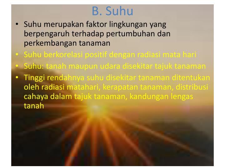 B. Suhu