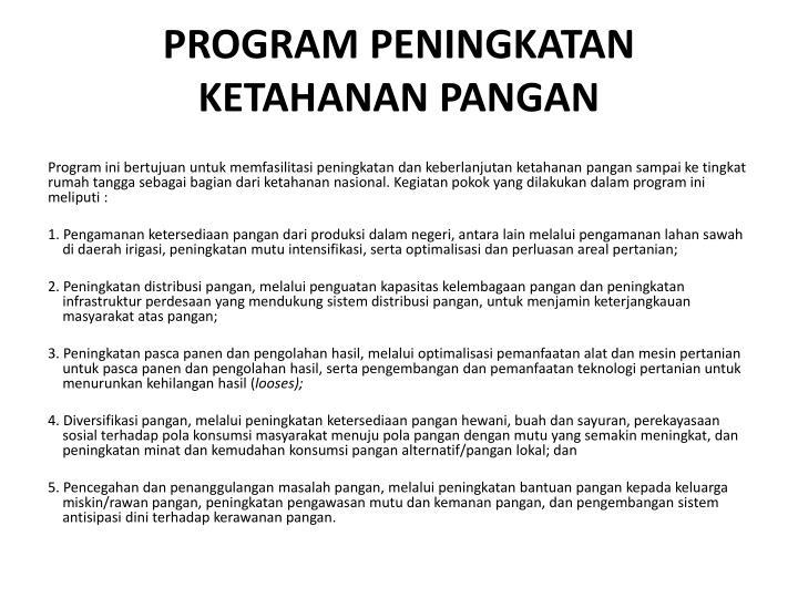 PROGRAM PENINGKATAN KETAHANAN PANGAN