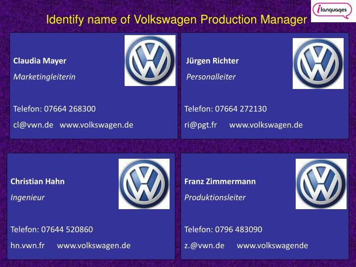 volkswagen of america managing it partners essay Essay on volkswagen of america: managing it priorities 1330 words | 6 pages information officer of volkswagen of america (vwoa) has a tough decision to make.