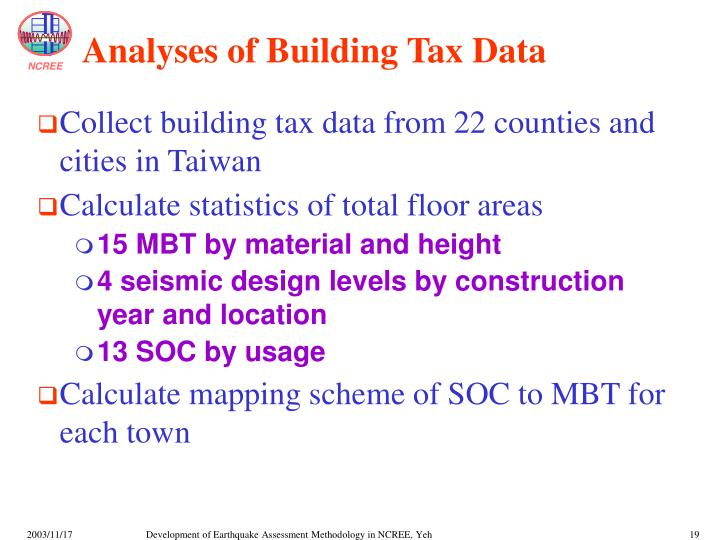 Analyses of Building Tax Data