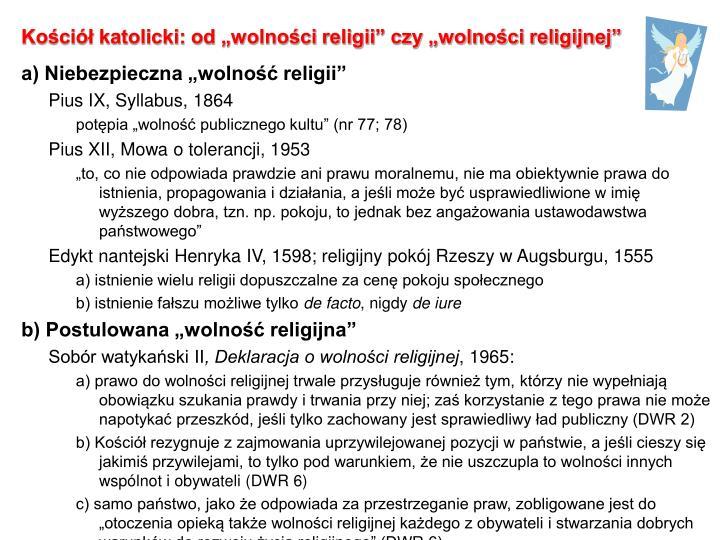 """Kościół katolicki: od """"wolności religii"""" czy """"wolności religijnej"""""""