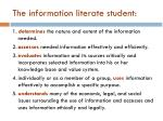 the information literate student