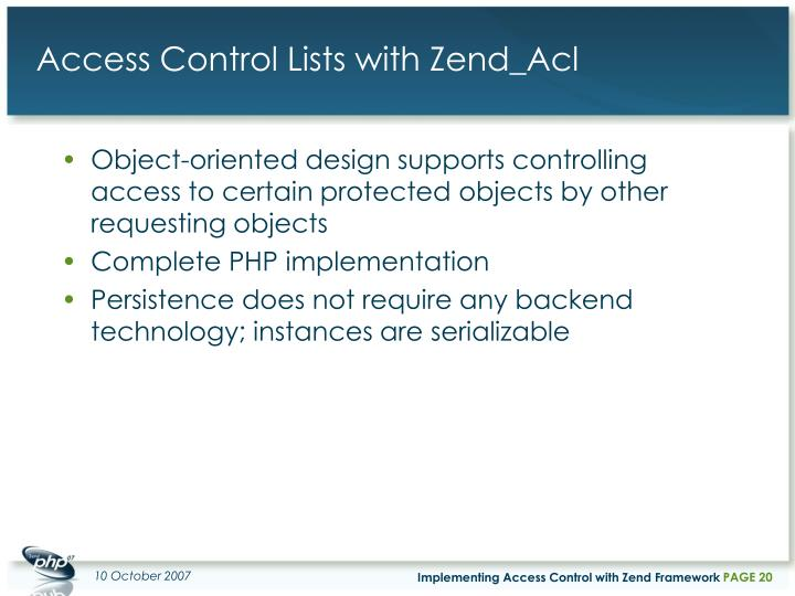 Access Control Lists with Zend_Acl