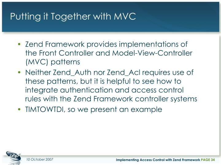 Putting it Together with MVC