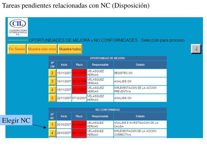 Tareas pendientes relacionadas con NC (Disposición)