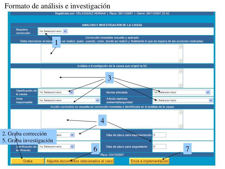 Formato de análisis e investigación