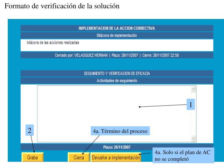 Formato de verificación de la solución