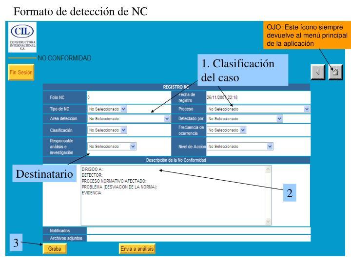 Formato de detección de NC