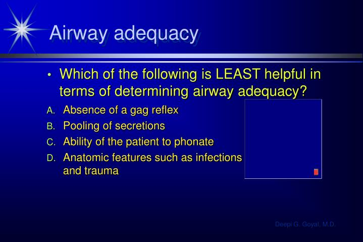 Airway adequacy