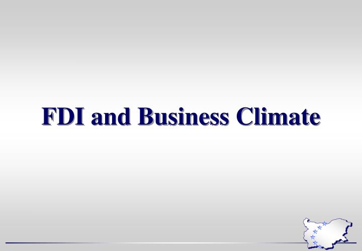 FDI and Business Climate