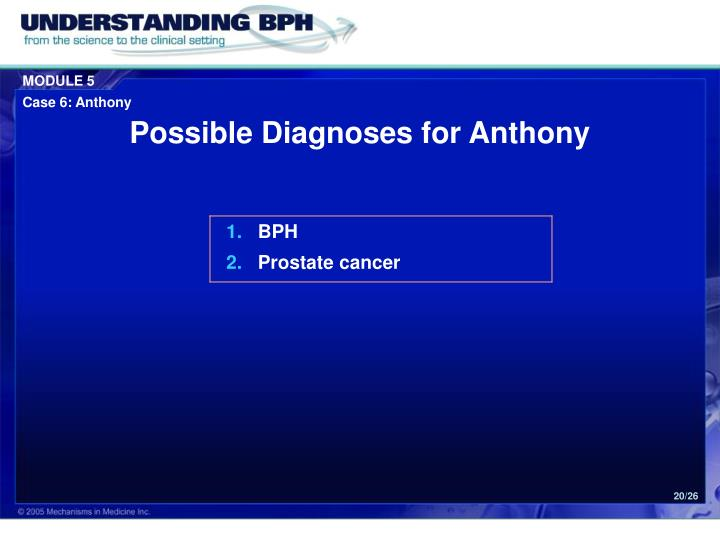 Possible Diagnoses for Anthony