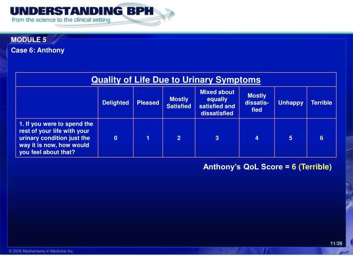 Anthony's QoL Score =