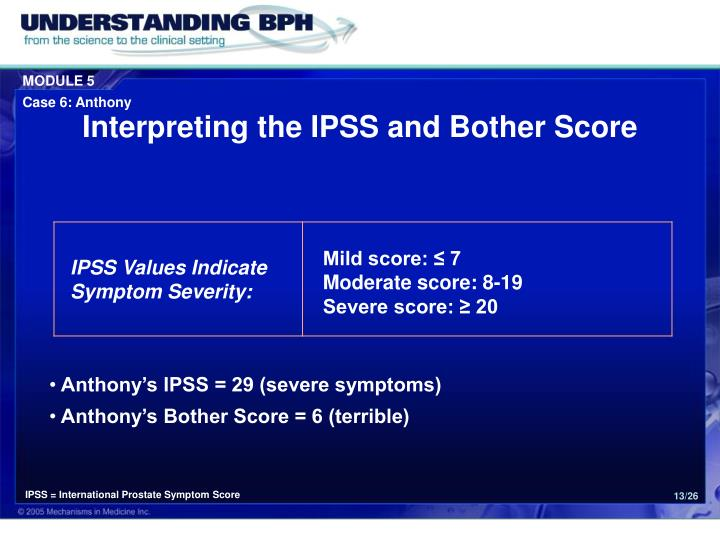 Interpreting the IPSS and Bother Score