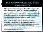 hcs 405 individual and week assignments