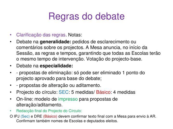Regras do debate