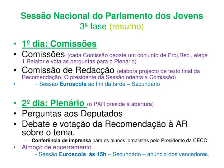 Sessão Nacional do Parlamento dos Jovens