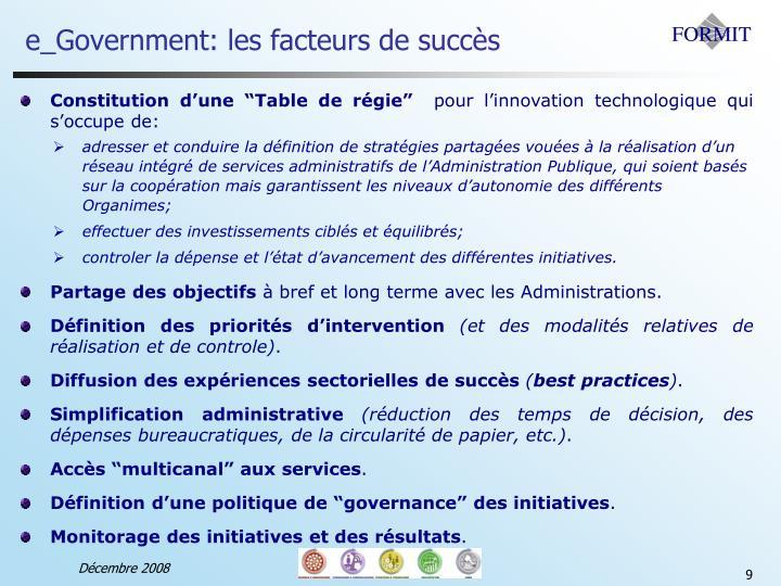 e_Government: les facteurs de succès