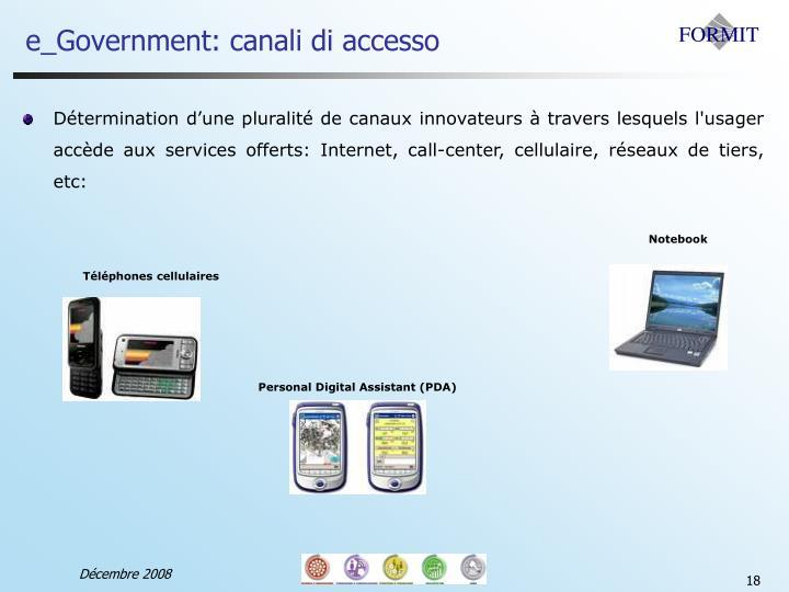 e_Government: canali di accesso