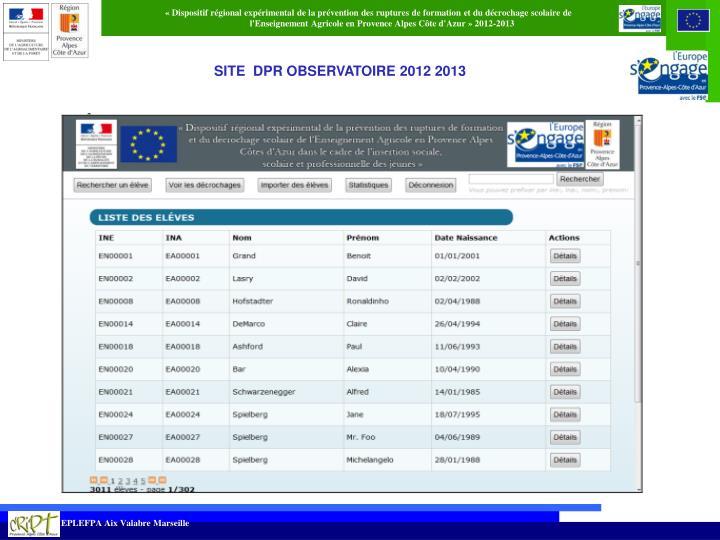 SITE  DPR OBSERVATOIRE 2012 2013