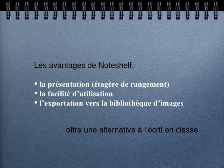 Les avantages de Noteshelf: