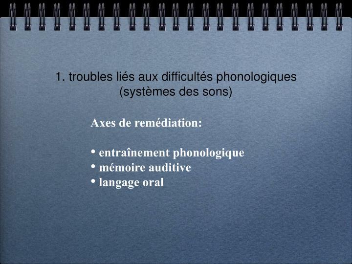 1. troubles liés aux difficultés phonologiques