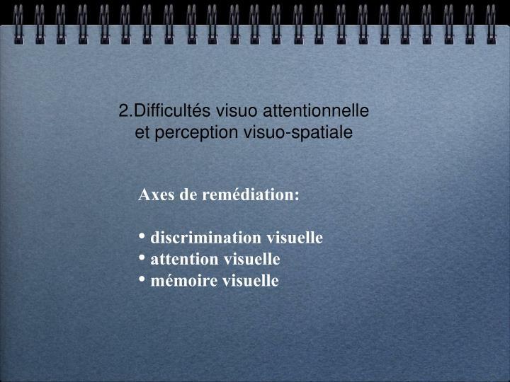 2.Difficultés visuo attentionnelle