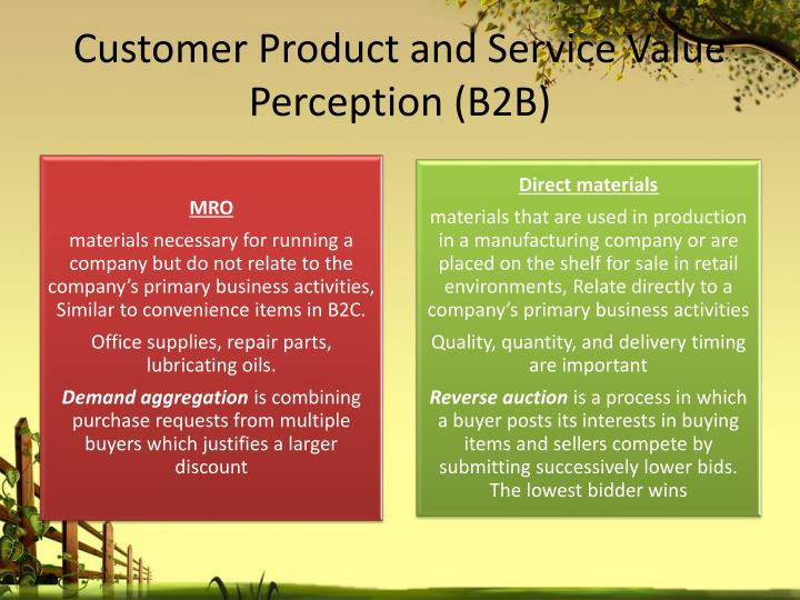 Customer Product and Service Value Perception