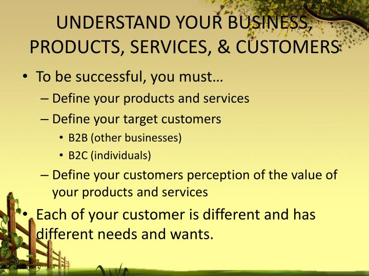 UNDERSTAND YOUR BUSINESS, PRODUCTS, SERVICES, & CUSTOMERS